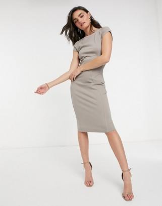 Closet London pencil dress with ruched cap sleeve in stone