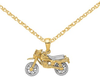 14K Yellow Gold with Rhodium-plated-plated 3-D Dirt Bike Motorcycle Charm with 18-inch Cable Rope Chain by Versil