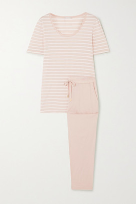 Hanro Laura Striped Cotton And Modal-blend Jersey Pajama Set - Taupe