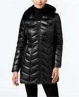 MICHAEL Michael Kors Faux-Fur-Collar Chevron Down Coat