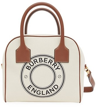 Burberry Small Cube Logo Canvas Bowling Bag