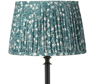 OKA 35cm Malati Pleated Drum Lampshade - Marine Blue/White