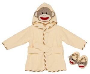 Baby Starters Infant Girls and Boys Sock Monkey Hooded Bath Robe Slipper Set of 3