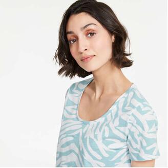 Joe Fresh Women's Print Cotton Jersey Tee, Light Aqua (Size S)