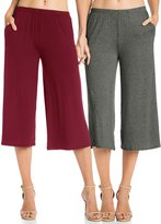 Fashion California FACA Womens Elastic Waist Jersey Culottes Capri Length Pants (, Black)