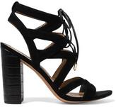 Sam Edelman Yardley Lace-up Suede Sandals - Black