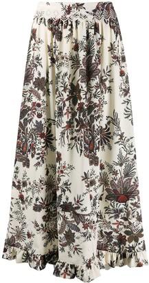 Paco Rabanne Floral-Print Midi Skirt