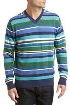 Alex Cannon Striped V-neck Sweater.