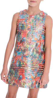 Zoe Sienna Garden Woven Metallic Jacquard Shift Dress, Size 7-16