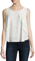 Dex Ruffled Dot-Print Sleeveless Top, Black/White