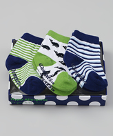 Dimples Green & Navy Whale Three-Pair Socks Set