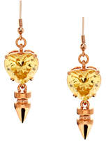 Mawi Yellow Small Crystal Heart Earring With Spike