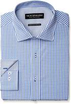 Nick Graham Men's Windowpane Check Poplin Dress Shirt