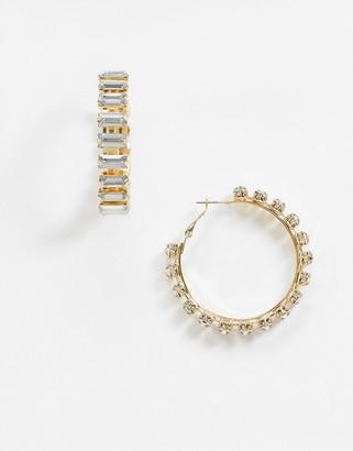 ASOS DESIGN hoop earrings with baguette crystals in gold tone