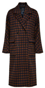 Selected Gingham Checked Coat Navy Rust - 38
