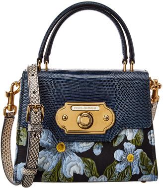 Dolce & Gabbana Welcome Medium Floral Print Fabric & Leather Satchel