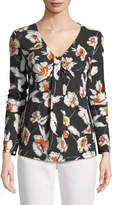 St. John Modern Floral Jersey V-Neck Long-Sleeve Tee