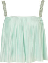 Jewel Strap Pleated Cami Crop Top