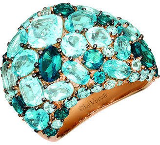 LeVian Le Vian 14K Rose Gold 10.99 Ct. Tw. Diamond & Blue Topaz Ring