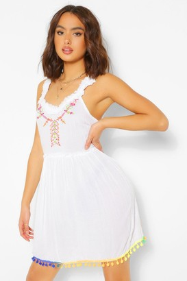 boohoo Pom Pom Cheesecloth Swing Dress