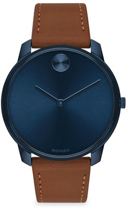 Movado BOLD Leather-Strap Watch
