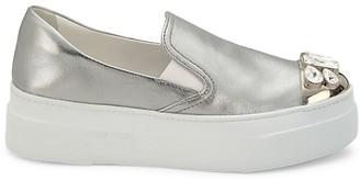 Miu Miu Jewelled Cap-Toe Metallic Leather Platform Slip-On Sneakers