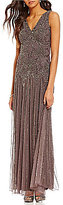Pisarro Nights V-Neck Sleeveless Beaded Gown