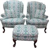 One Kings Lane Vintage Chairs w/ Pillows & Ottoman, S/3