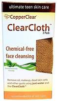 ClearCloth for Natural Acne Care - 3 Pk - 12x12 - Remove Makeup, Oils, Dead Skin & Other Pore-clogging Residue - Cleanse & Exfoliate Your Skin Using Just Water by CopperClear