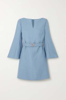 Valentino Crystal-embellished Belted Wool And Silk-blend Crepe Mini Dress - Blue
