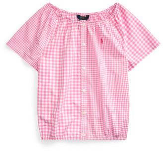 Ralph Lauren Mixed-Gingham Cotton Top