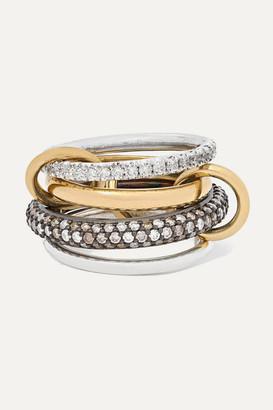 Spinelli Kilcollin Vega Set Of Four 18-karat Gold, Sterling And Rhodium-plated Silver Diamond Rings - 6