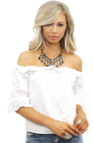 West Coast Wardrobe Lizzy Eyelet Woven Top in Ivory