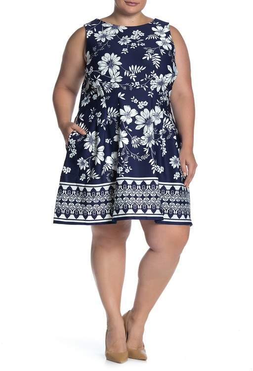 Tropical Floral Sleeveless Scuba Dress (Plus Size)