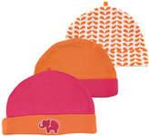 Orange & Pink Elephant Beanie Set