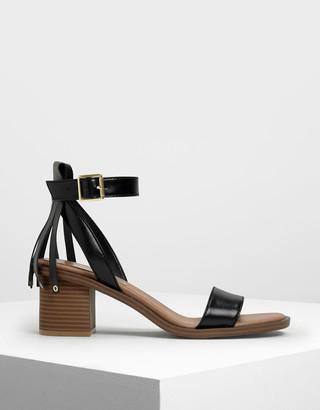 Charles & Keith Fringe Trim Block Heel Sandals