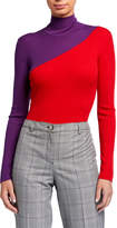 Emporio Armani Colorblock Spanish Merino Wool Rib Knit Turtleneck Sweater