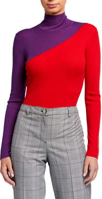 Emporio Armani Colorblock Spanish Merino Wool Rib Knit Turtleneck Sweater
