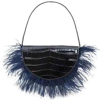 STAUD Amal Croc-Embossed Leather Feathered Shoulder Bag