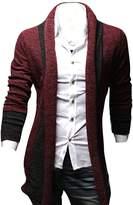 Kisstyle Mens Casual Splicing Design Long Sleeve Soft Warm Cardigan_Blue Grey_L