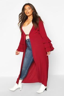 boohoo Plus Ruffle Sleeve Maxi Chiffon Kimono