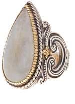 Konstantino Erato Sterling Silver & 18K Gold Framed Teardrop Labradorite Ring - Size 7