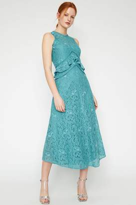 Warehouse Aqua Frill Lace Midi Dress