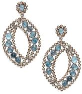 Marquis Pav? Champagne Diamond, London Blue Topaz & Sterling Silver Drop Earrings