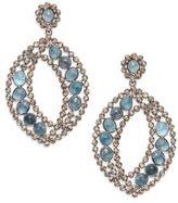 Marquis Pav? Champagne Diamond, London Blue Topaz & Sterling Silver Drop Earrings