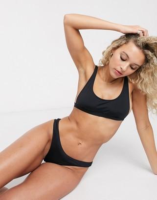 Bershka v shape bikini bottoms in black