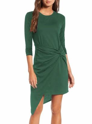 Moyabo Women Skirt Suits for Work Plus Size 3/4 Sleeve Round Neck Ruffle Pencil Tunic Dress Dark Green XX-Large