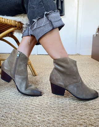 Ash Heidi mid-heel ankle boot in taupe