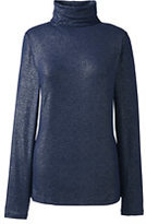 Classic Women's Petite Long Sleeve Metallic Print Turtleneck-Gray Heather Metallic