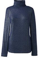 Classic Women's Tall Long Sleeve Metallic Print Turtleneck-Gray Heather Metallic